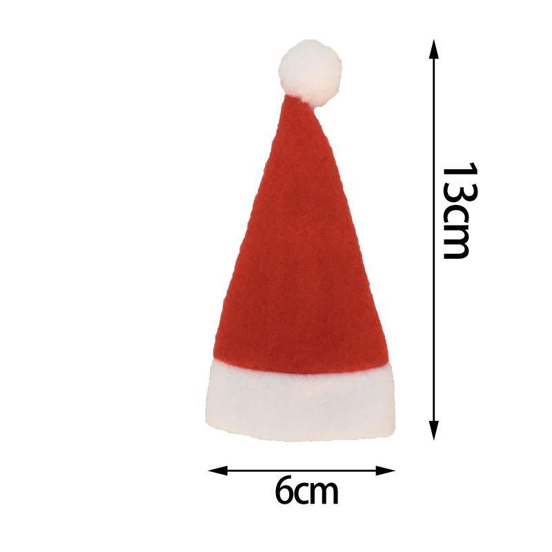 Mini Xmas CapDesigns Drinking Bottle Hat Christmas Cutlery Holder Bag Fork Spoon Pocket Santa Claus Christmas Table Decor