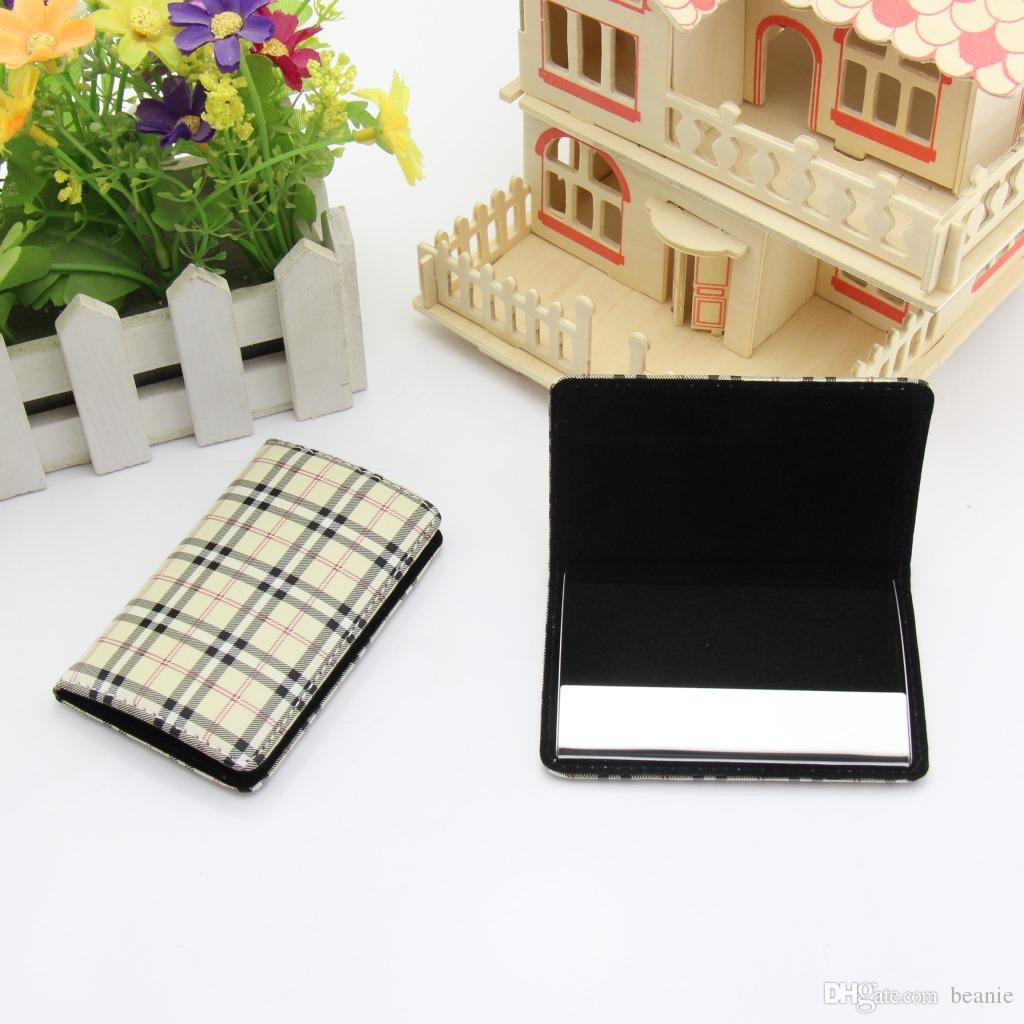 Fashion Plaid Business Card Holder Wallet Men & Women Leather Credit ...