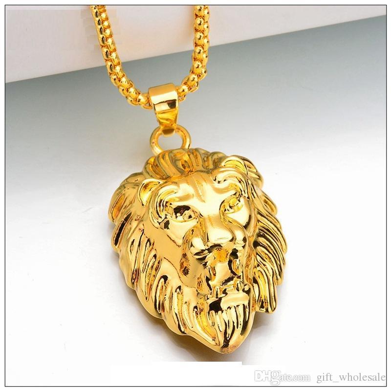 Nouveau Vintage Grand Classique Lion Tête Pendentifs 18 K Réel Plaqué Or Ras Du Cou Collier Flottant Charmes Bijoux En Gros