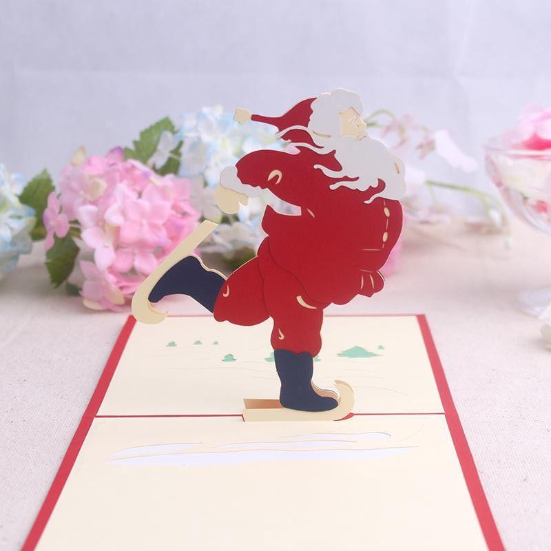 Christmas Greeting Cards Origami Handmade 3D Greeting Card Merry Christmas Santa Claus Skating Pop Up WA1353
