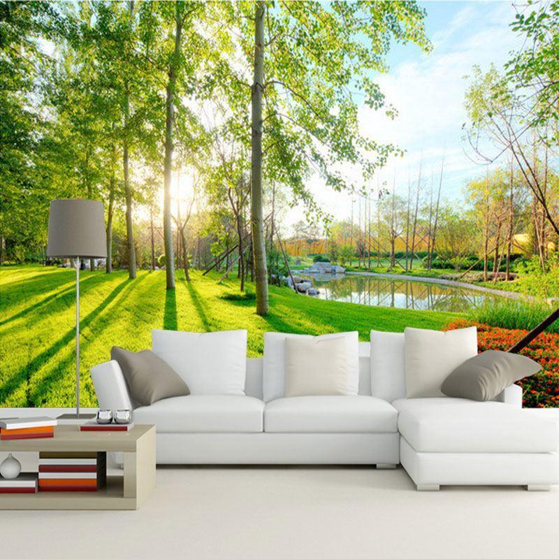 Custom photo wallpaper 3d pastoral landscape mural sofa for Nature wallpaper for living room