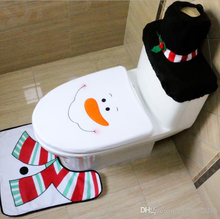 Delle famiglie di Natale Babbo Natale Panno igienici rilievo del piede Copriwater ATV Cappuccio Tatuaggi Bagno Set