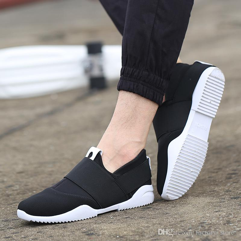 b258bca38ec5 2019 New Men Breathable Canvas Shoes Men Casual Shoes Slip On Trend Y3  Loafers Flats Mens Trainers Shoes Black Blue Orange Sports Shoes Womens  Shoes From ...