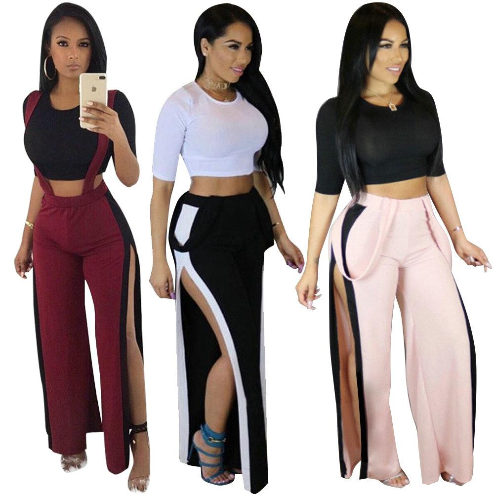 f0a4e82af00 Hot New Sexy T-shirt+suspender Trousers Fashion Women s Sets Casual Split  Tops Belt Pants Ladies Two-piece Set Club women s clothes