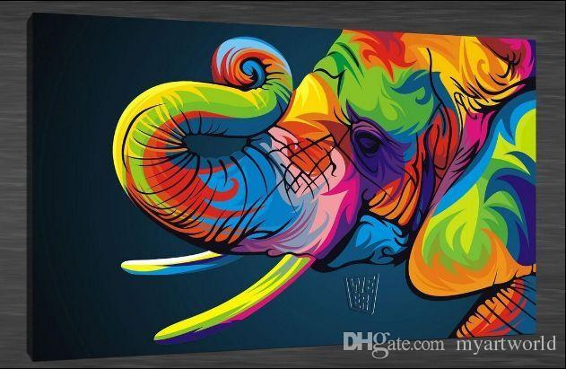 Bright Coloured Elephant Pure Hand Painted Contemporary
