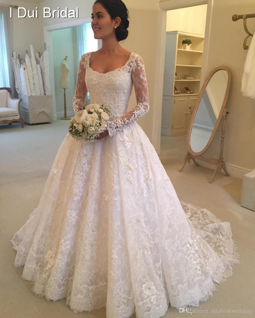 Square Neck Long Sleeve Ball Gown Wedding Dress Lace Appliqued ...