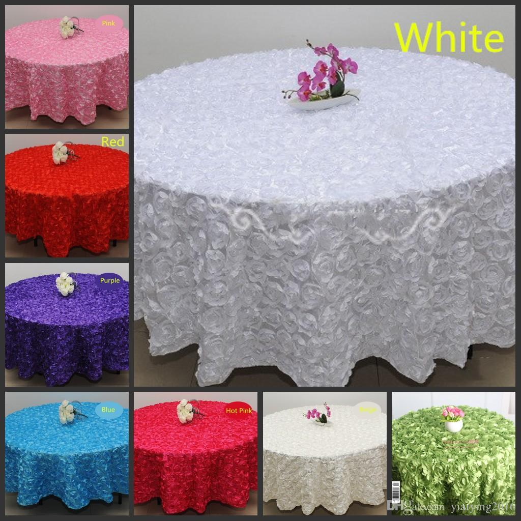 Whole White 2 4 M Wedding Round Table Cloth Overlays 3d Rose Flower Tablecloths Decoration Supplier Linen Tablecloth