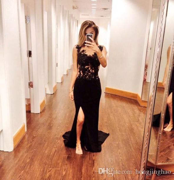 2019 New Style split Pizzo nero Prom Dresses Sleeveless Corpetto Pretty guaina da sera Piano Lunghezza Prom Dress