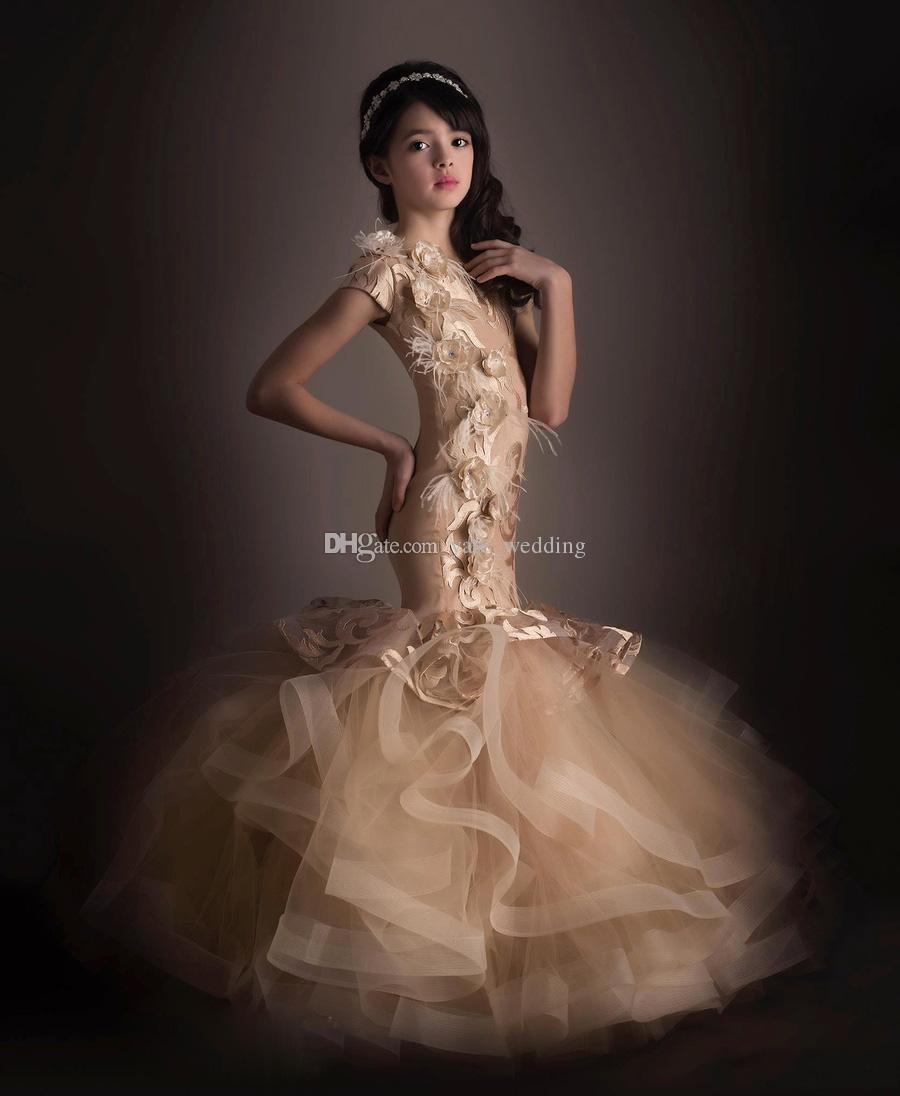 Meerjungfrau-Mädchen-Festzug-Kleider mit kurzen Ärmeln Spitze Tüll Handmde Blumen bodenlangen Champagner Festzug-Kleider für Jugendliche