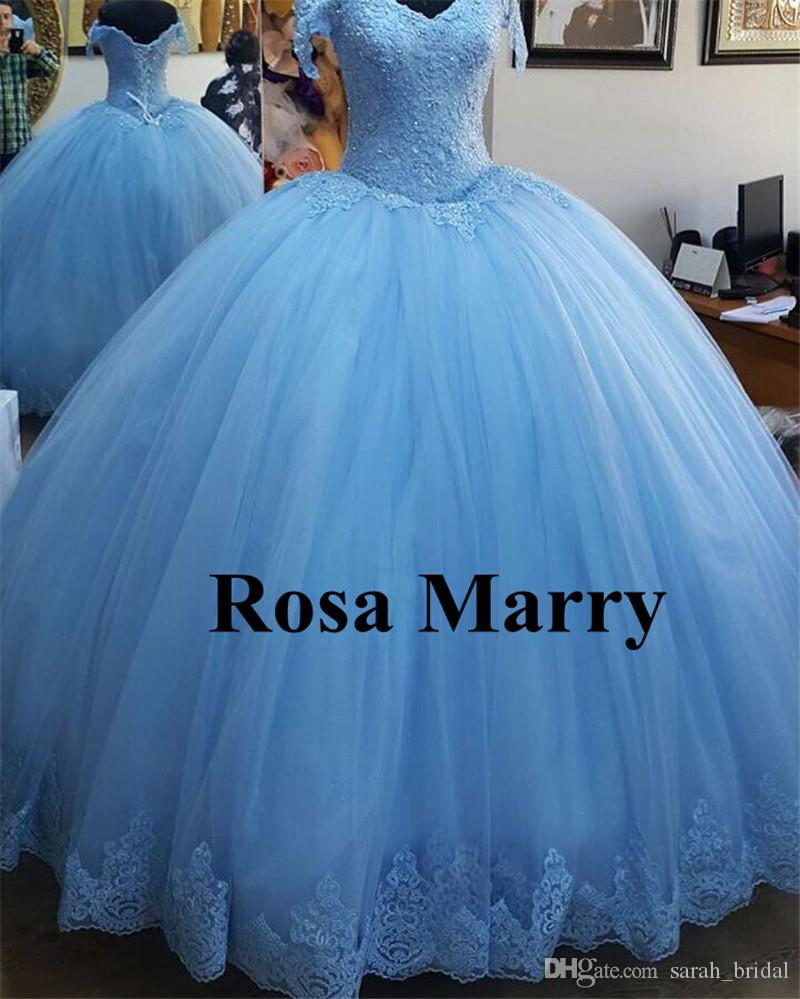 Princess Blue Ball Gown Quinceanera Prom Dresses 2017 Real Images ...