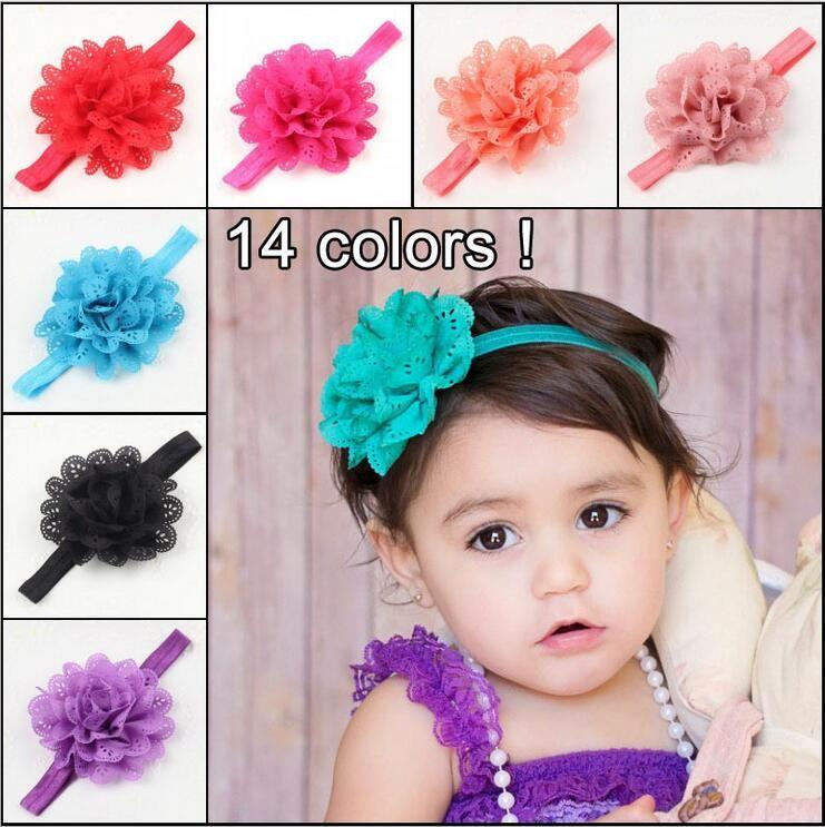 Children's Kids hairband hollow wave edge chiffon flower infant baby girls elastic hair band headbands color