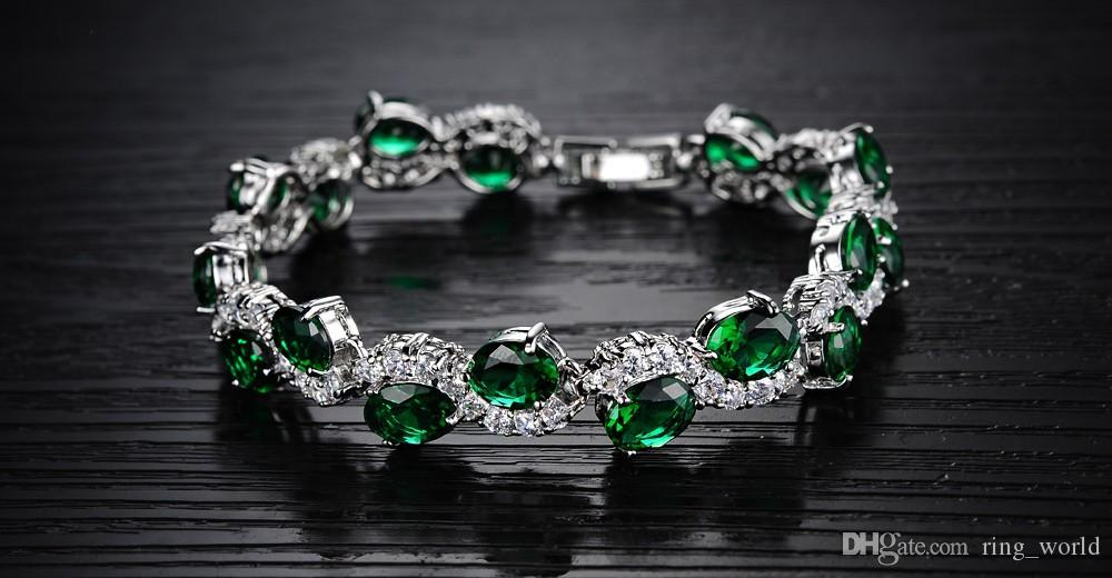Charm bracelet women's luxury white gold bracelets bangles fashion green crystal jewelry valentine's day gift wholeale DS926
