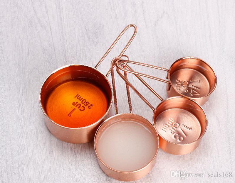 Tasse de haute qualité en acier inoxydable en acier inoxydable de cuivre 4 pièces ensemble Outils de cuisine faisant des gâteaux et des jauges de cuisson Outils de mesure HH7-177