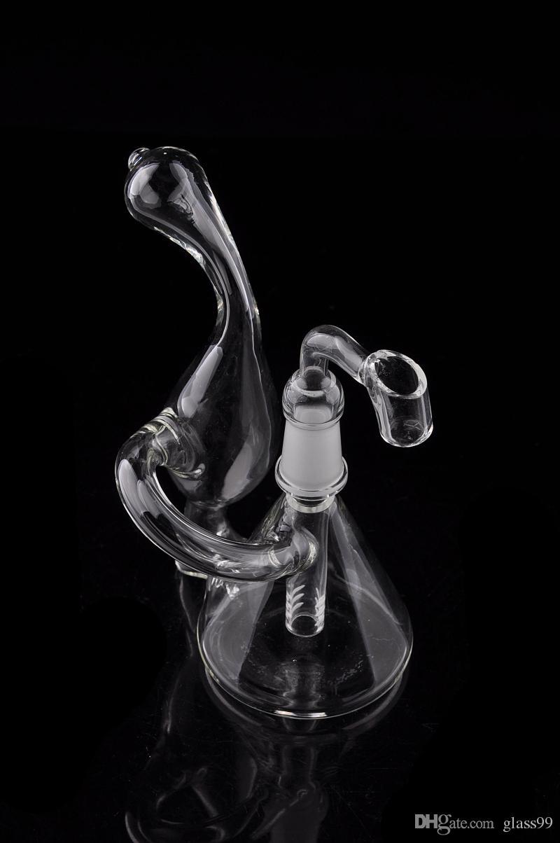 Dab Rig Mini Beaker Recycler Bong mano soffiato disegno unico piccolo tubo di acqua da 5 pollici Oil Rig Bubbler Vendita aspetto delicato