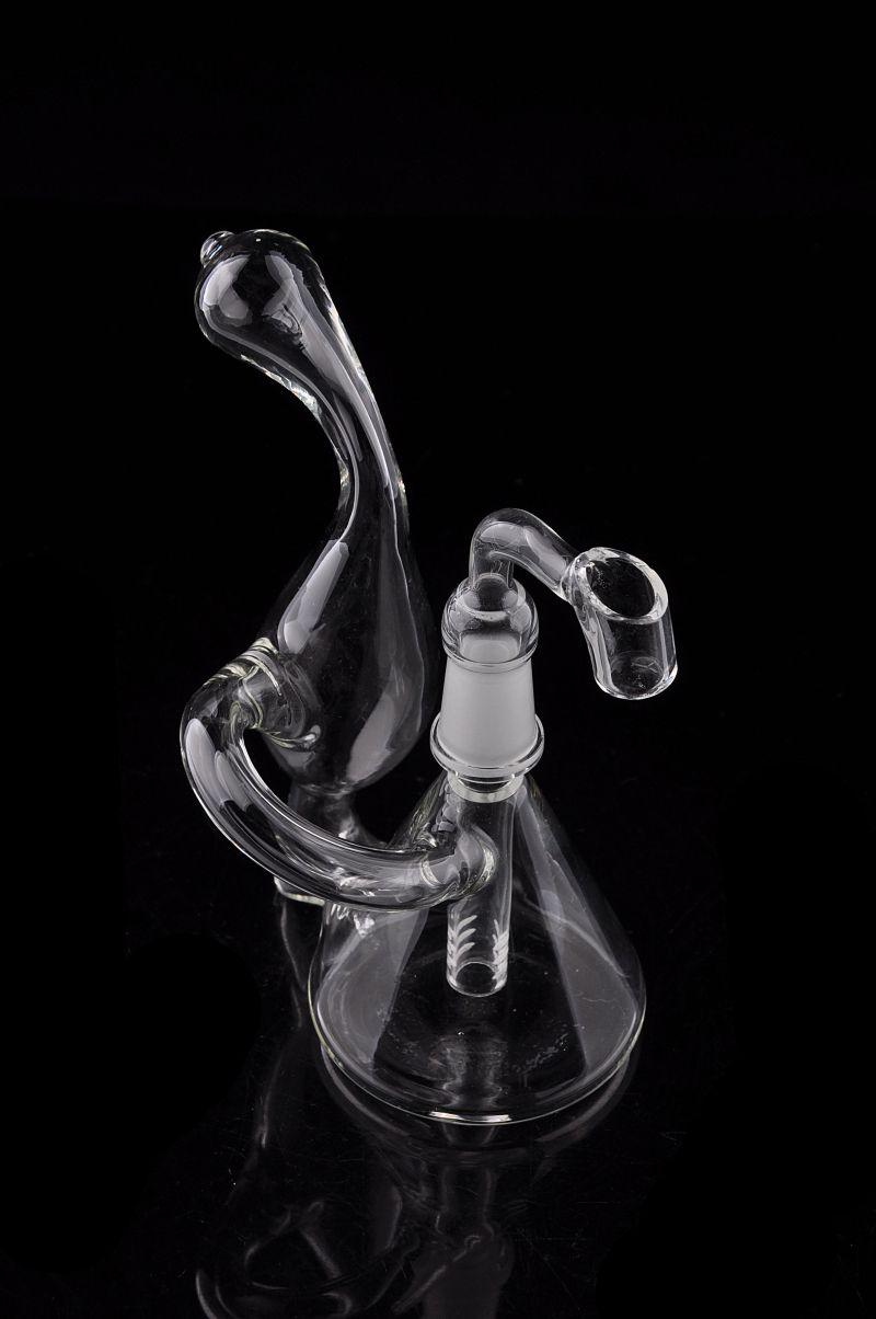 Dab Rig Mini Beaker recycleur Bong en verre design unique soufflé à la main Petit tuyau d'eau de 5 pouces Oil Rig barboteur Vente apparence délicate