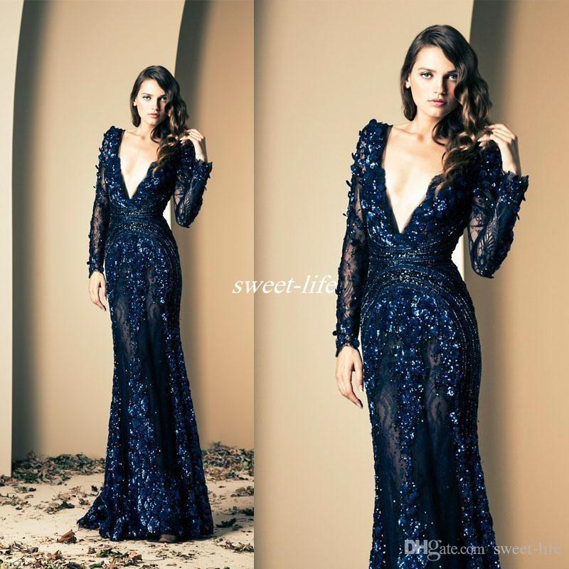 Ziad Nakad Navy Blue Prom Gowns Formal Celebrity Dress Deep V Neck Hand Made Flowers Long Sleeves Mermaid Illusion Lace Evening Dresses 2019