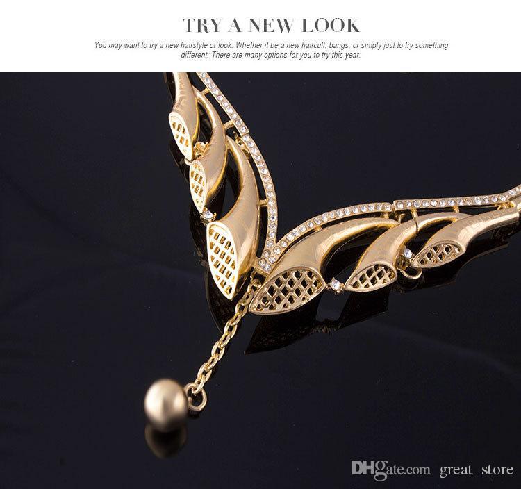 Set di gioielli di corno di alta qualità bianco orecchini bracciale collana braccialetto di nozze 18K gioielli in oro famiglia di quattro GTOMKS054