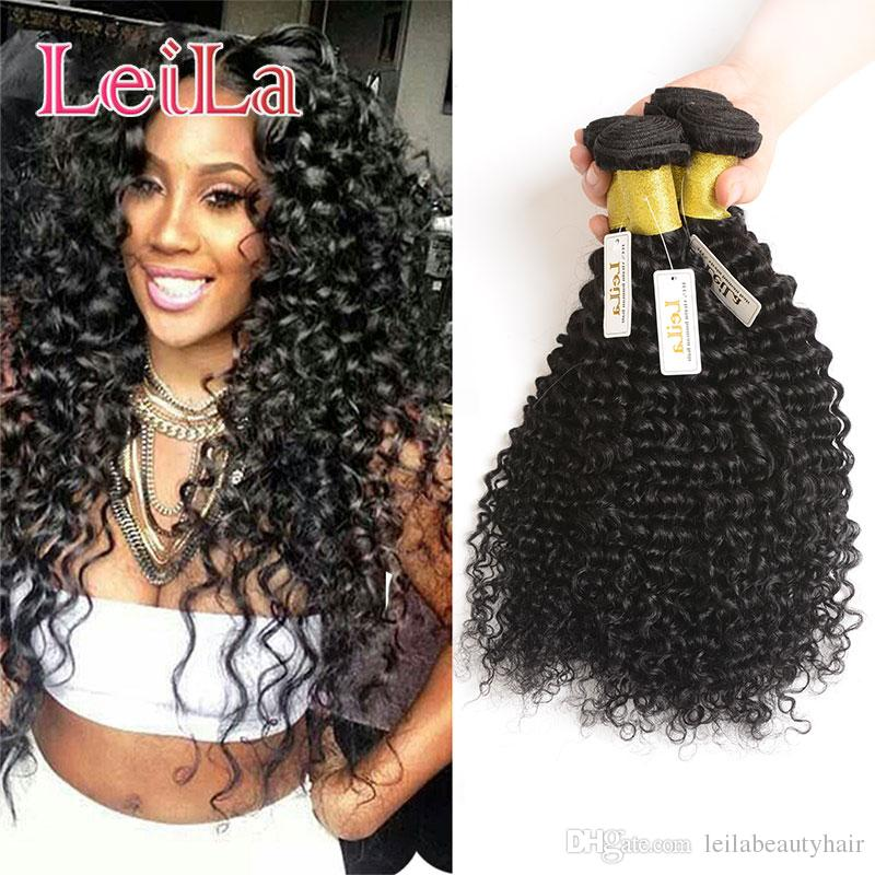 Indian Virgin Hair 4 Bundles Human Hair Weaves Deep Wave Curly Natural Black 95-100g/piece Deep Wave
