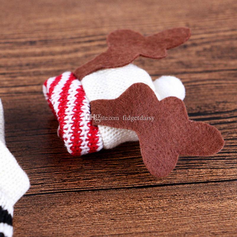 Симпатичный свитер бутылки вина Обложка сумки Санта-Клауса обеденного стола Рождественские украшения одежды с Шляпы Главная партия Декоры