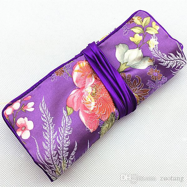 대형 여행 보석 롤 선물 가방 세트 포장 케이스 예쁜 실크 브로케이드 3 지퍼 파우치와 링 팩 하나 개 졸라 매는 끈 스토리지 가방