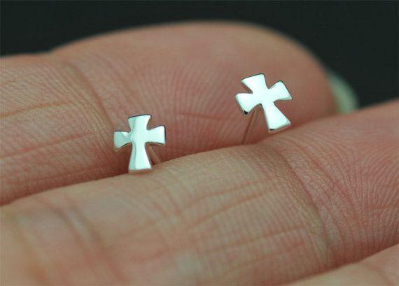 - S031 소형 플랫 사이드 웨이트 크로스 귀걸이 간단한 작은 기하학적 귀걸이 멋진 신앙 기독교 종교 크로스 스터드 귀걸이