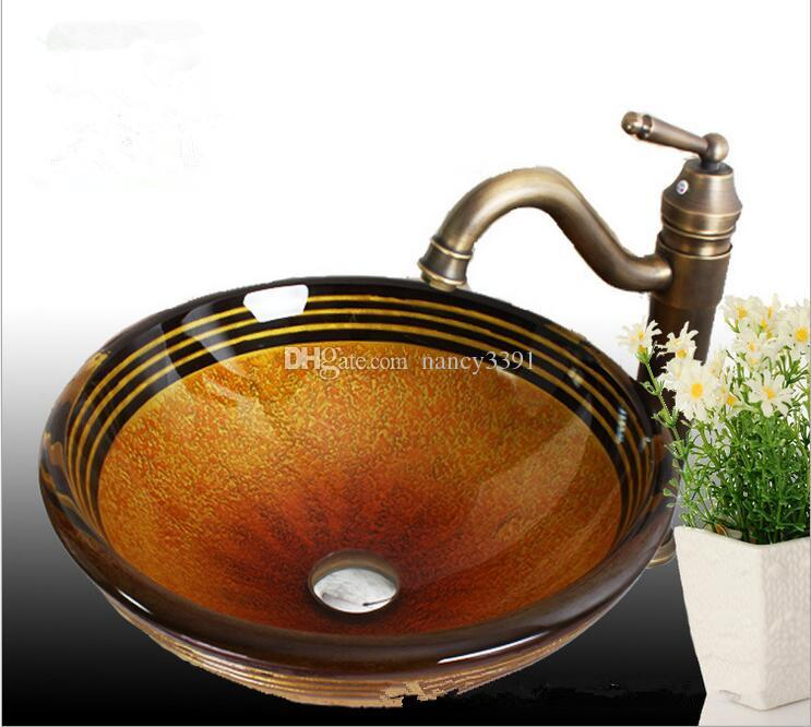 Glass material wash basin bathroom sink shades of yellow and brown striped pattern 19mm double glazing