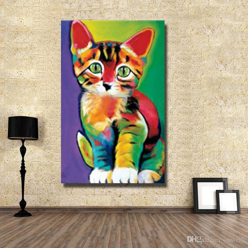 knife patches cat oil painting hand painted baby cat tree for large cats living room wall pictures