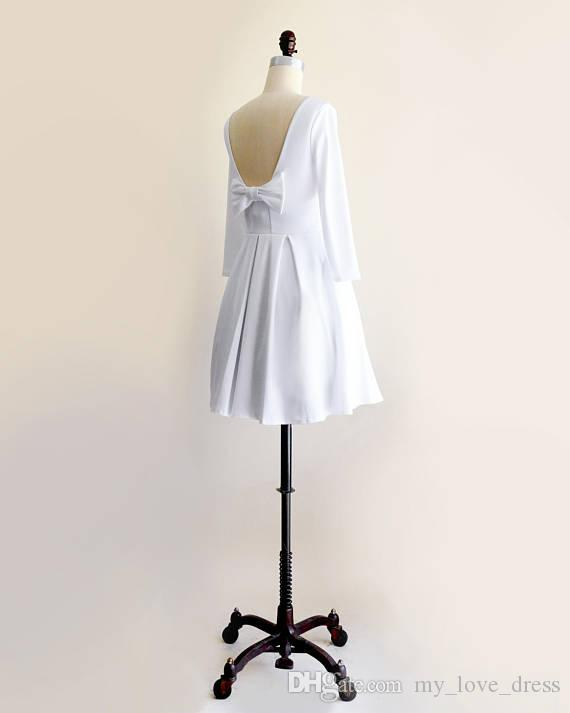 Short White Party Dress with Long Sleeves Vintage Inspired Fit and Flare Dress with Back Bow Ponte Knit Little Prom Dress above Knee