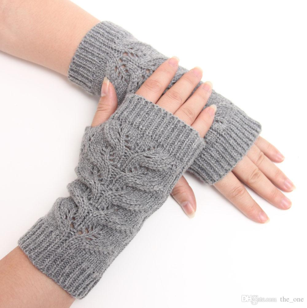 e77ba9232fc7 2019 Winter Unisex Arm Warmer Elbow Long Fingerless Mitten Knitted ...