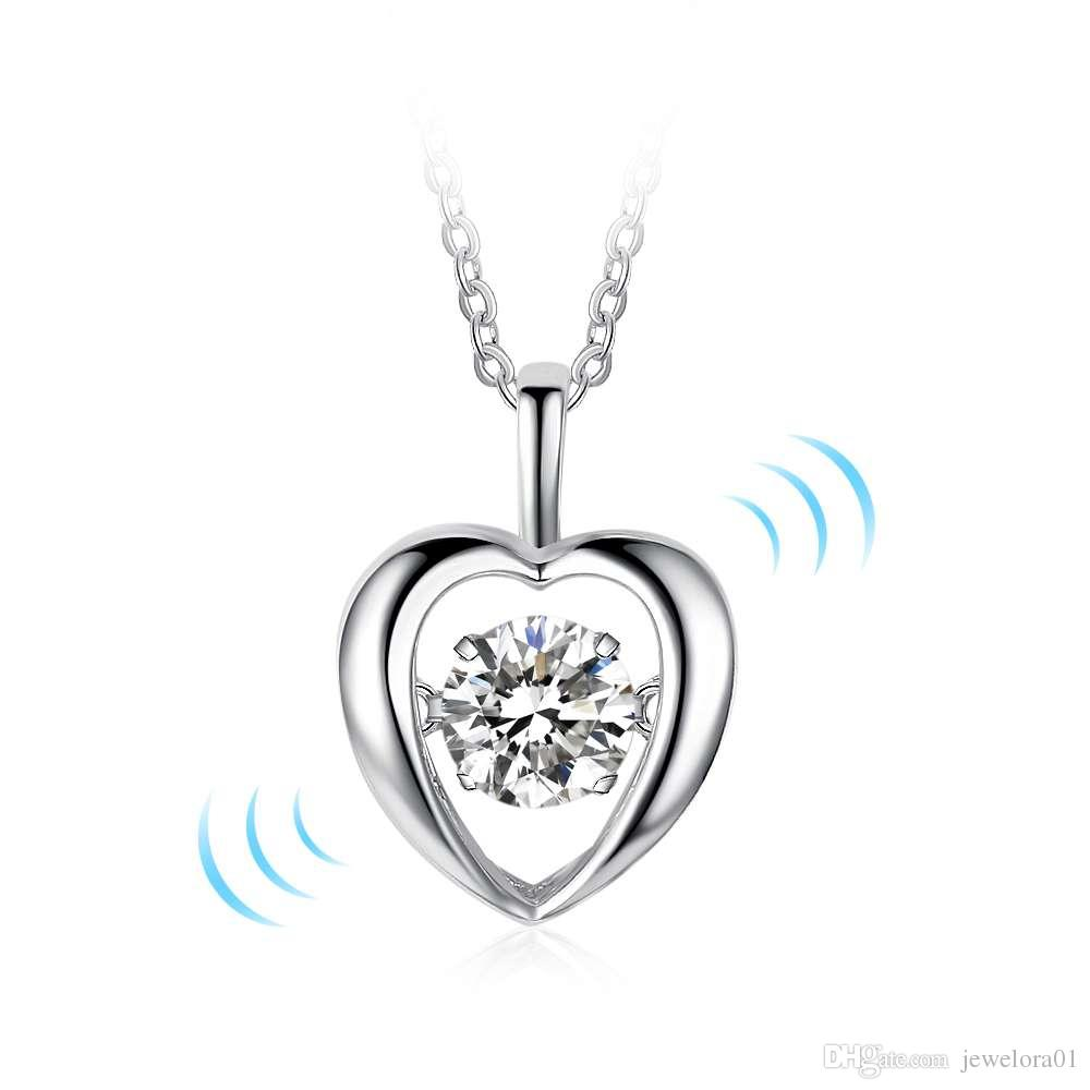 Wholesale 925 Sterling Silver Heart Pendent Necklace Fashion Love ...