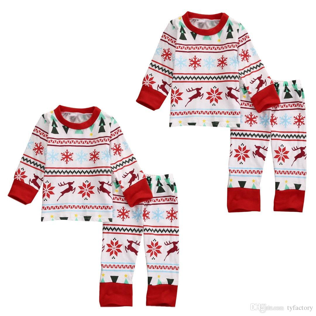hot fashion baby suits Children Kids Boy Girl Xmas Clothes sets long sleeve tshirt +pants Sleepwear christmas Nightwear Pajamas top Set 2-7T