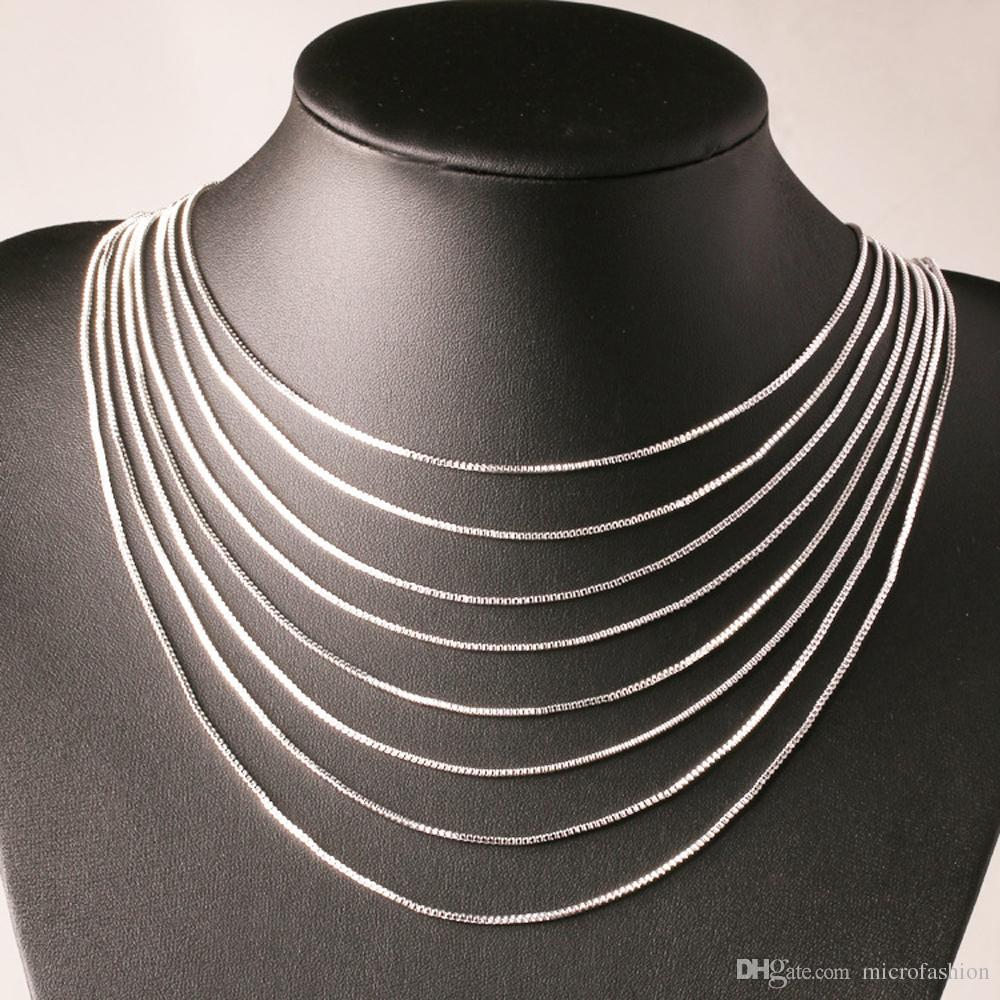 Moda Kutusu Zinciri 18 K Altın Kaplama Zincirler Saf 925 Gümüş Kolye uzun Zincirler Takı Çocuk Boy Kızlar için Womens Mens 1mm 2016