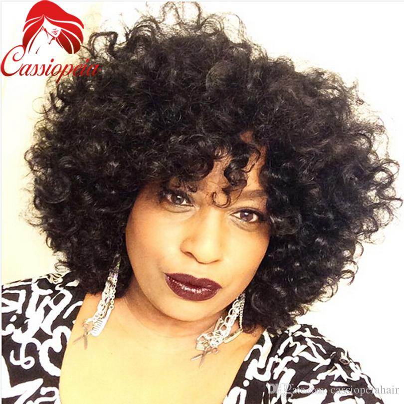 Kinky Curly Short Wigs For Black Women Glueless Peruvian Virgin Hair Lace Front Wig with Bangs Curly Full Lace Human Hair Wigs