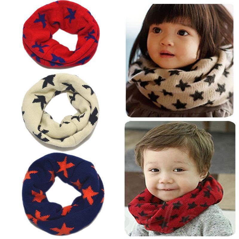 Toddler Baby Boys Girls Winter Warmer Crochet Knitted Woolen Scarf Children Stars Collar Neck Warm Shawl Wrap Kids Ring Scarf