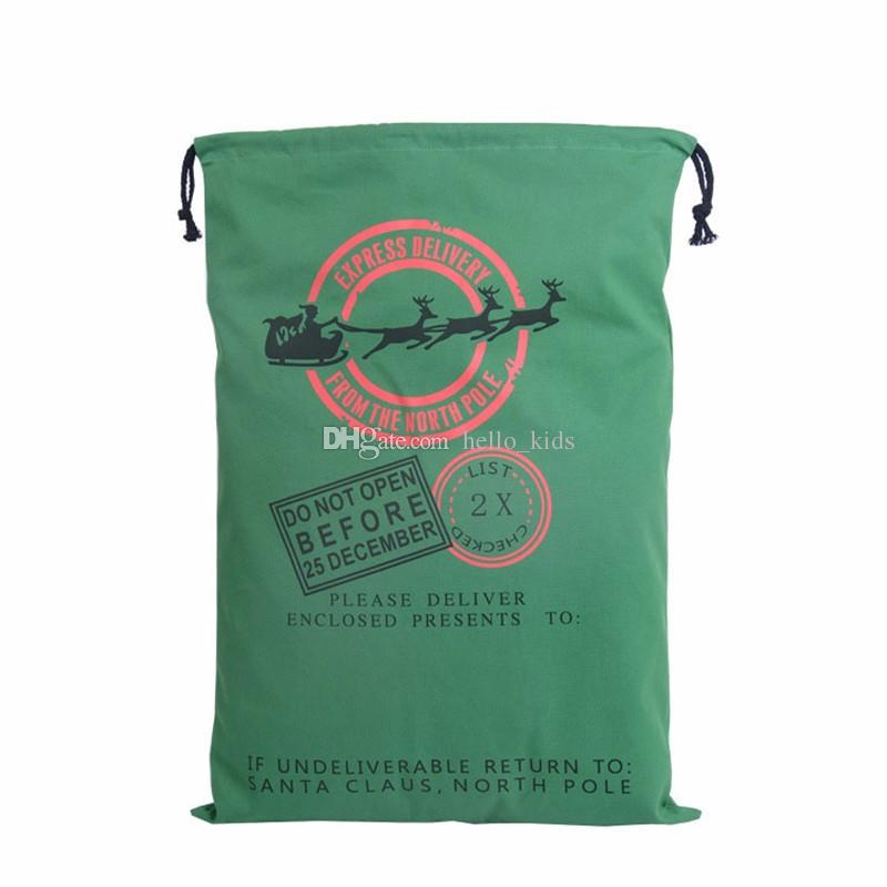 Bolsos de regalo de Navidad de 2017 Bolsa de lona pesada orgánica grande Bolsa de lazo de saco de Santa con renos Bolsas de saco de Santa Claus para niños Mochilas