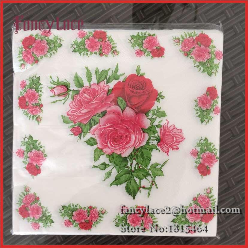 Online Cheap Wholesale Rose Paper Napkin Flower Festive & Party ...