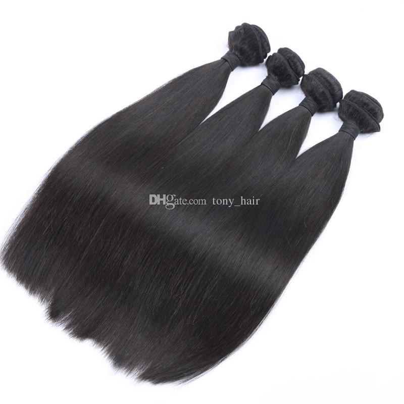 Peruvian Straight Hair With Closure Unprocessed Human Hair 4 Bundles With Closure Peruvian Hair Weaves With Lace Top Closures