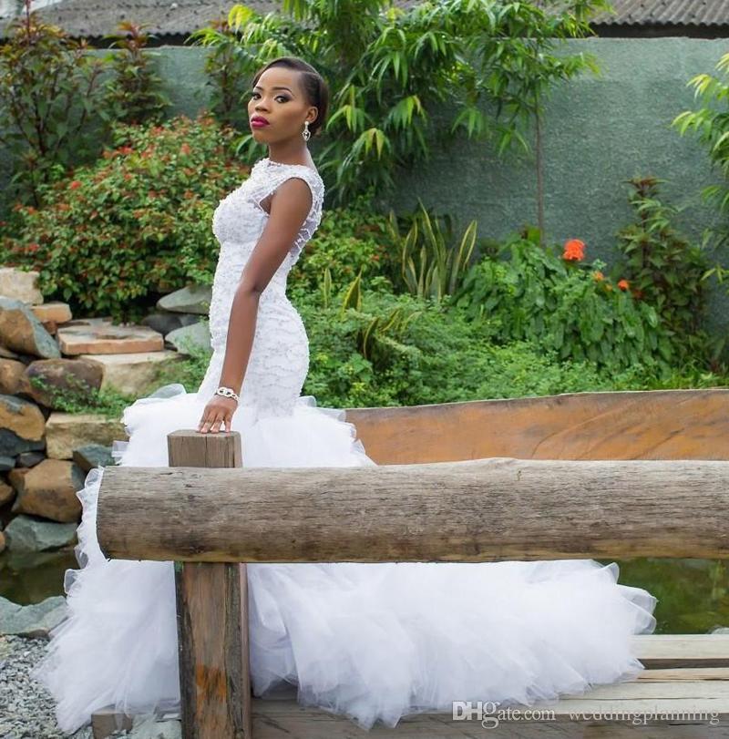 Modest Sheer collo di stile del Sud Africa Abiti da sposa Dubai arabo sposa Mermaid Abiti Pizzo Perline increspati Tiered Tulle Abiti da sposa
