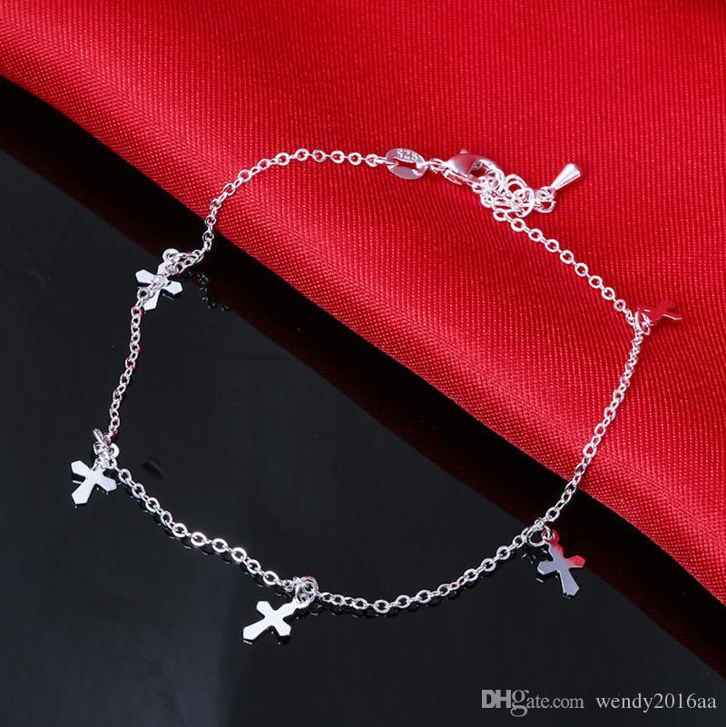 Vendita al dettaglio 925 cavigliera d'argento sterling Unico bello sexy semplice perline catena d'argento cavigliera piede gioielli alla caviglia