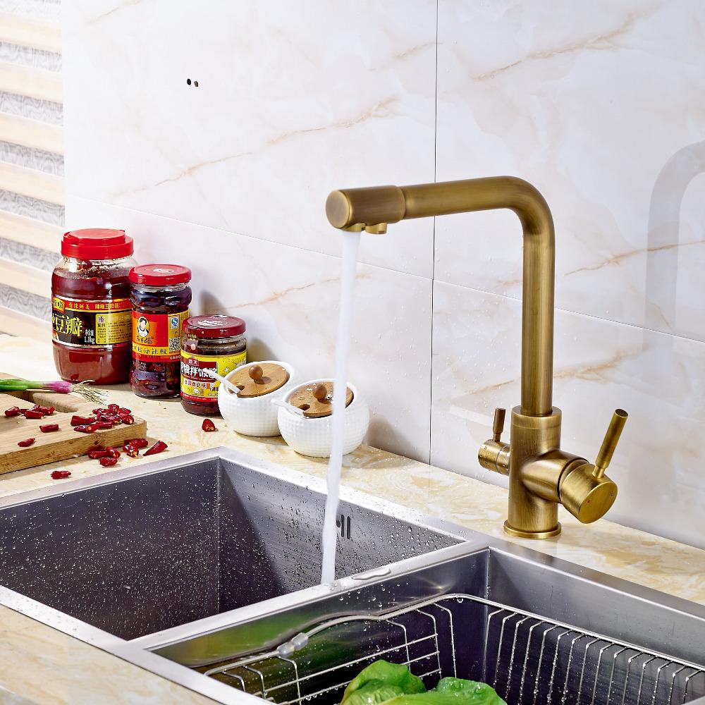 2017 Wholesale Solid Brass Kitchen Faucet Mixer Tap Dual Spouts Antique  Brass Deck Mounted From Glenae, $97.25 | Dhgate.Com
