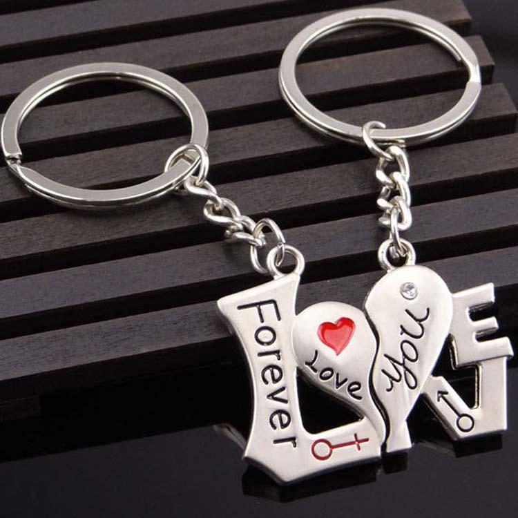 أحبك إلى الأبد مفاتيح المفاتيح سبليت زوجين القلب حلقة رئيسية عقد العاشق الأزياء والمجوهرات هدية الإرادة وسري هبوط السفينة 170882