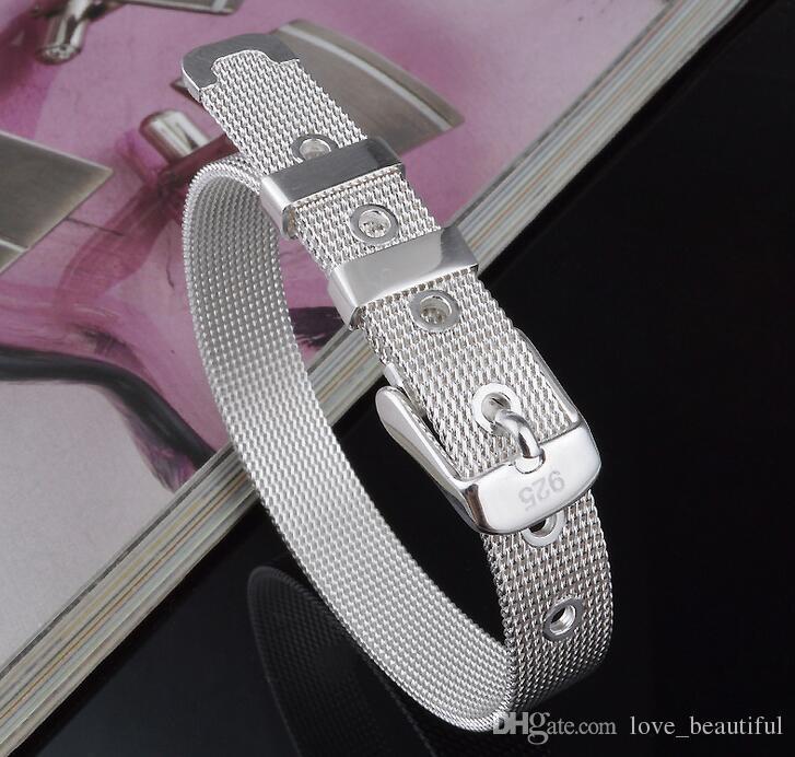 Niedrige Preis-Förderung! Marken-925 / 18k Mädchen / Madam 925 Sterlingsilber-Goldmaschen-Uhrarmband-Armband /