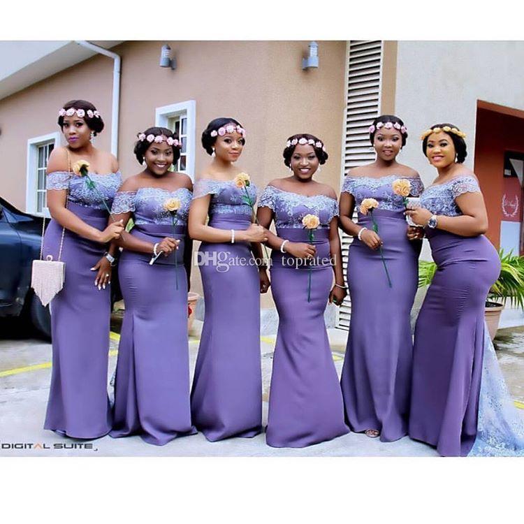Light Purple Plus Size Long Bridesmaid Dresses Off Shoulder Lace ...