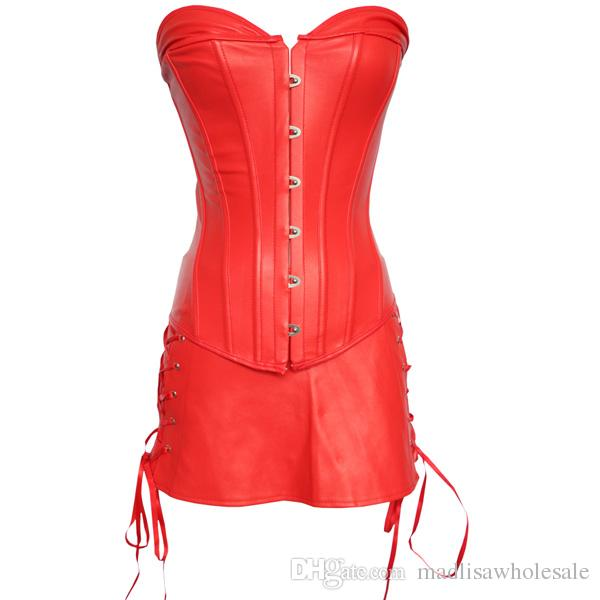 61202d29971f4 Big Size Sexy Black Red Women s Corset Gothic Faux Leather Bustier Ladies Underwear  Shapewear Lace Up Overbust Corset Dress for Party 0844 Leather Corset ...