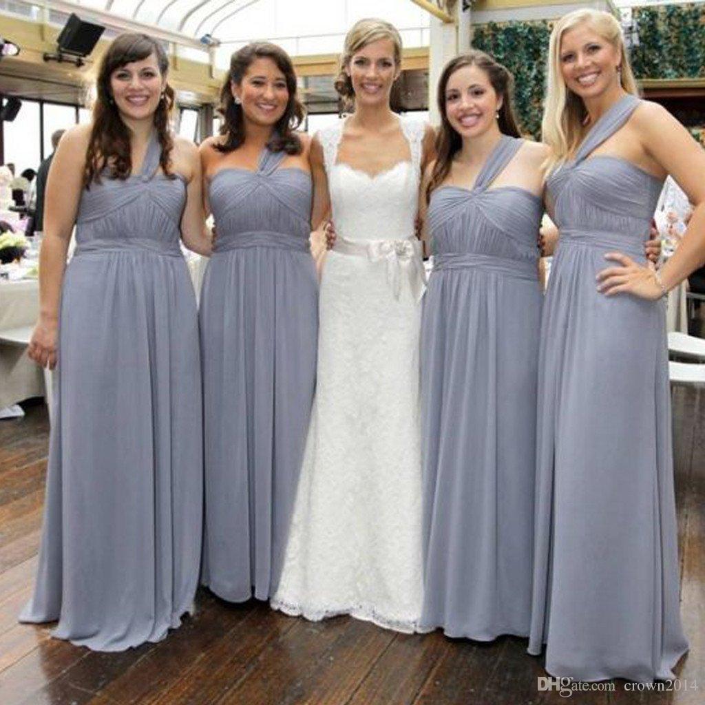 Gri Ucuz Basit Resmi Maxi Gelinlik Modelleri Şifon Tek Omuz Kat Uzunluk A Hattı Pileli bağbozumu Wedding Guest Elbise Custom Made
