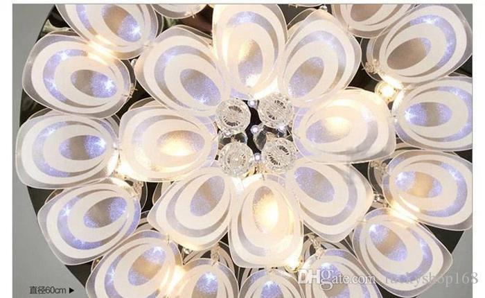 Modernas lámparas de cristal redondas D100cm montaje empotrado lámpara de techo E14 Led de acero inoxidable Lustre Colgar accesorios de iluminación Iluminación interior