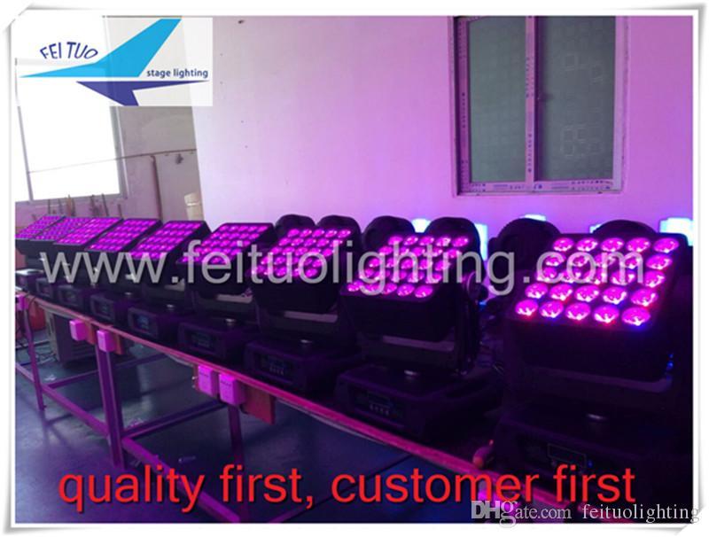 2 lote / CASE Matriz de alta Qualidade 5 * 5 Quad LED 25 * 12 W Feixe Moving Head Light Wash Com Caso Flgiht