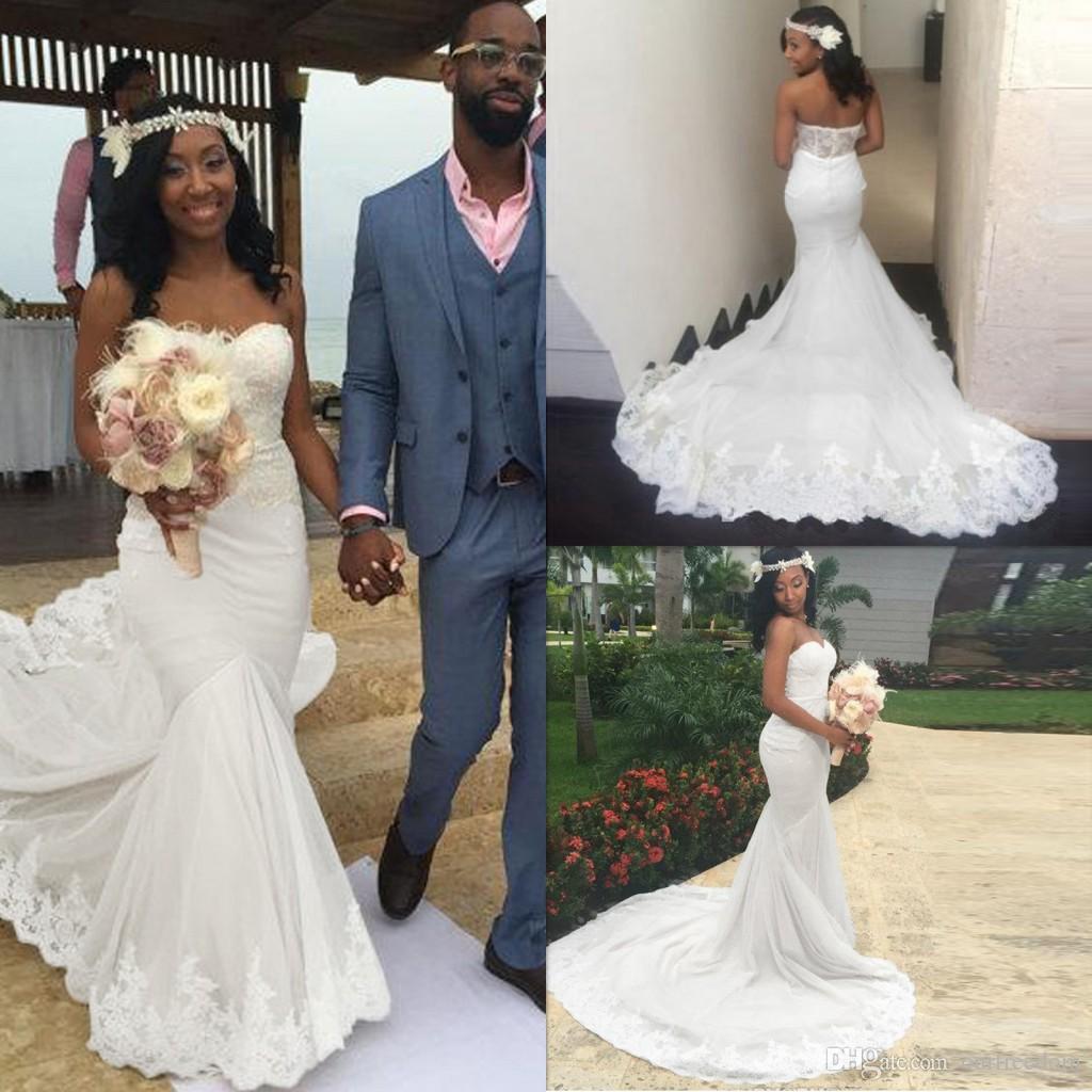2017 African Style Mermaid Wedding Dresses Sweetheart Neck
