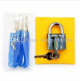 Blue Practice Padlocks with Unlocking Lock Pick Set Key Extractor Tool Lock Pick Tools