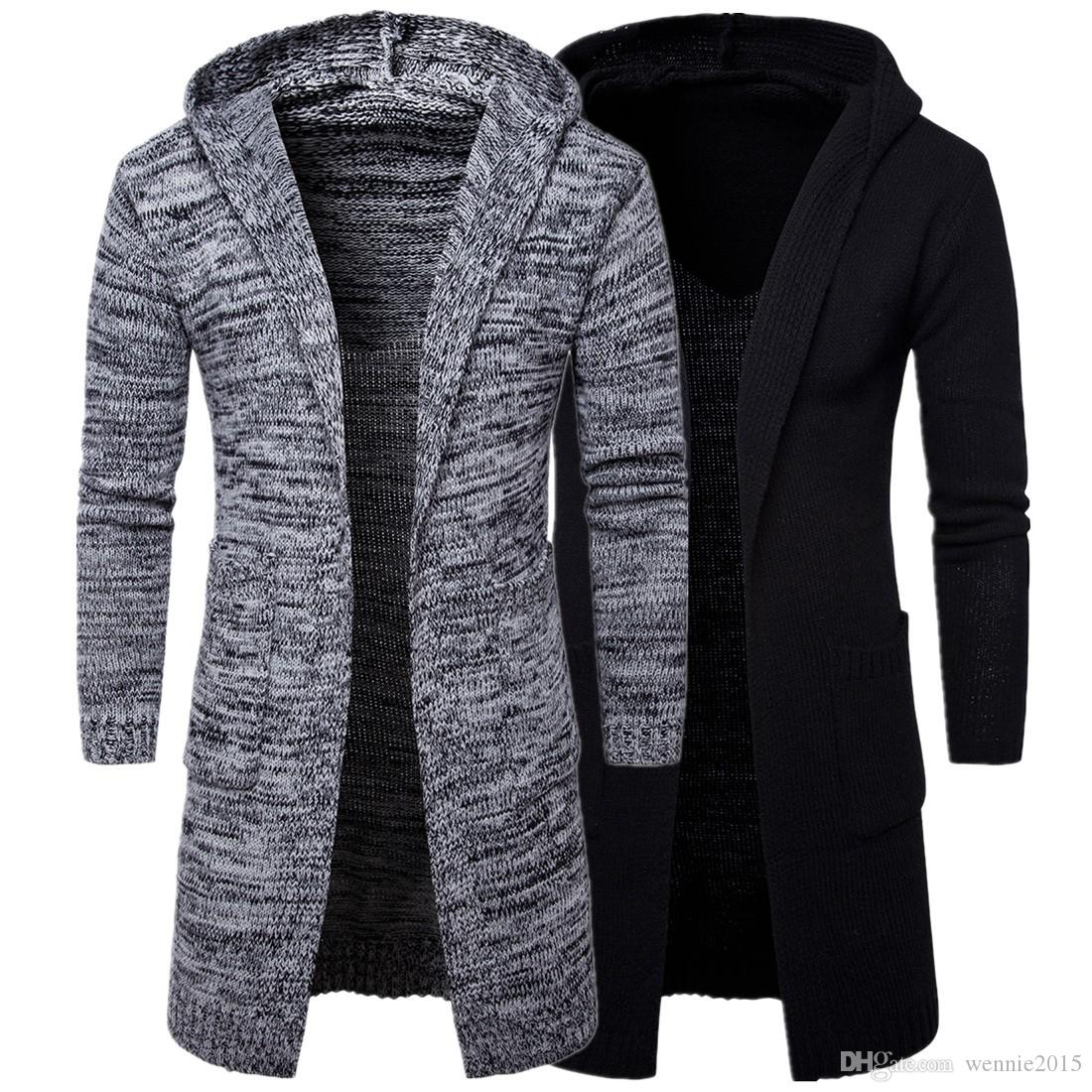 a15ad95f6934 2019 Hot Sell Men Outerwear Coat Trench Coat Cardigan Sweater Knit Sweaters  Black And Grey Size M 2XL From Wennie2015